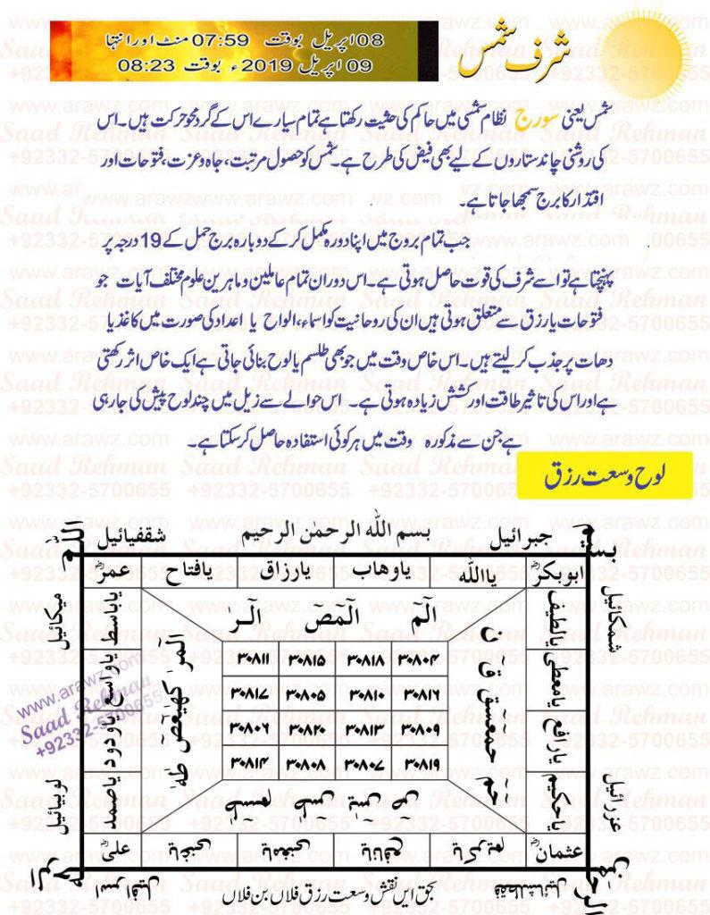 Sharf E Shams 2019 شرف شمس Roohani Amliyat Aur Wazaif